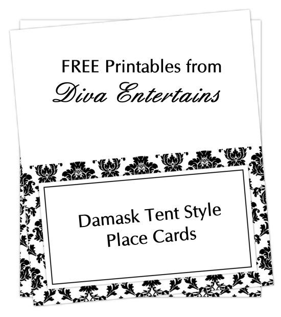 free damask tent cards | Yay! Lets have a Party-- themes & inspirati ...