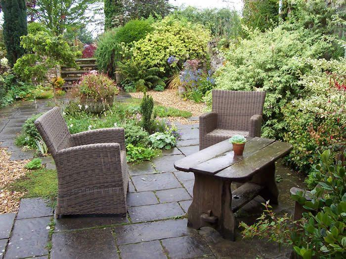 Mulch Backyard Ideas : Patio garden area  Landscape Design  Pinterest