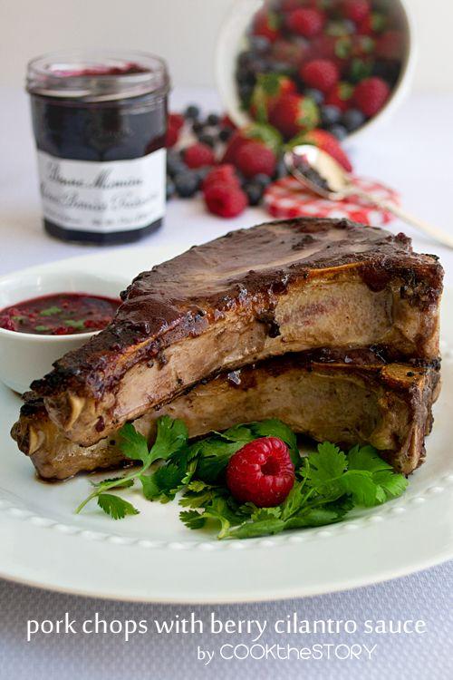 ... Pork Chop Recipe with Berry-Dijon Glaze and Berry-Cilantro Sauce