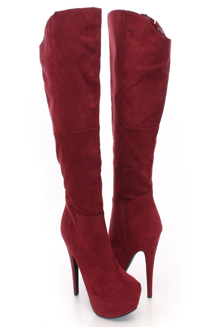 burgundy toe knee high heel boots shoes