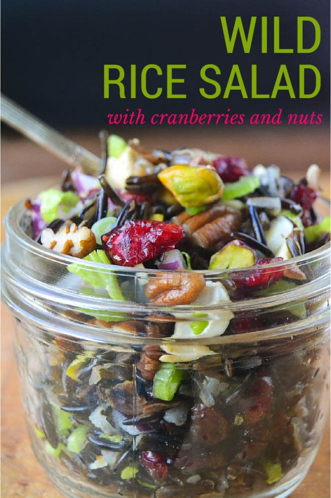 Healthy Wild Rice Salad with Cranberries and Nuts is perfect for a ...