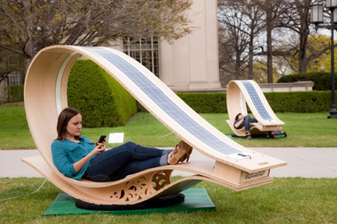 solar powered charging station and lounge chairs polly products