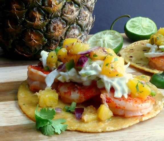 Grilled Shrimp Tacos with Pineapple Jalapeno Salsa close up