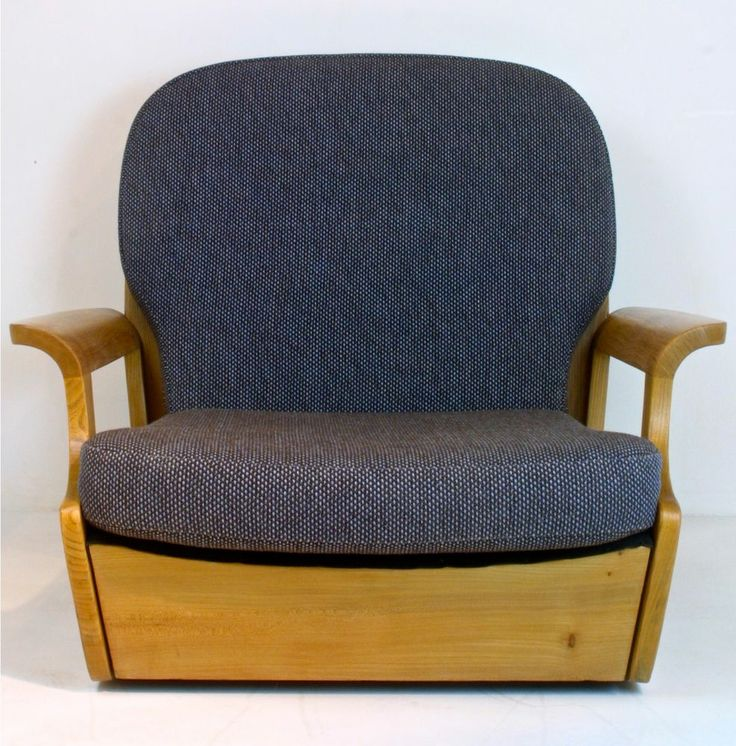 Ercol Solid Elm 3 Seater Armchair New Wool Upholstery