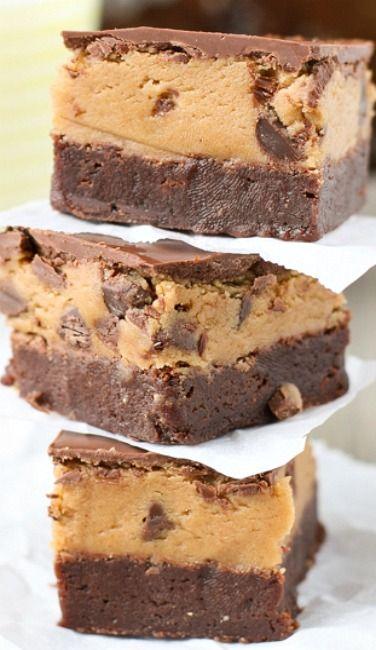 Peanut Butter Cookie Dough Brownies Recipe — Dishmaps