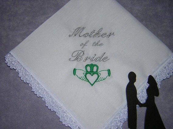 Wedding Gifts For Groom Ireland : Irish Mother of Bride/Groom Keepsake Heirloom Wedding Handkerchief gi ...