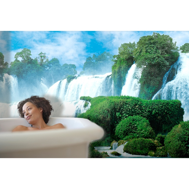 Murals add dimension to your space.  China Falls mural makes this bathroom tranquil. $139.99. http://lelandswallpaper.com