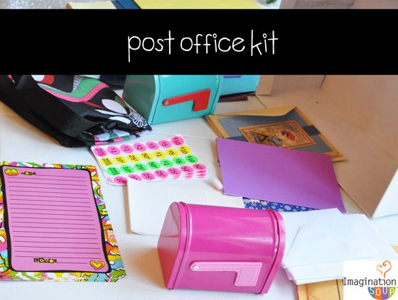 25 DIY pretend play kits ie.post-office-kit my sister did this for her dayhome!
