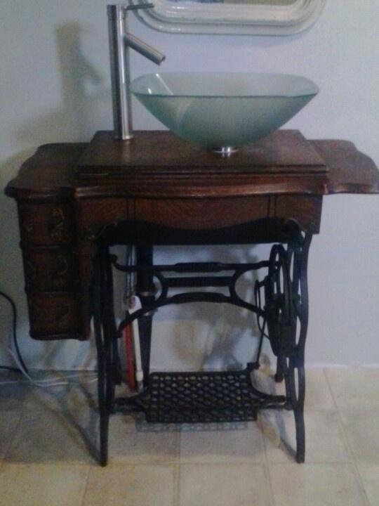 antique sewing machine sink