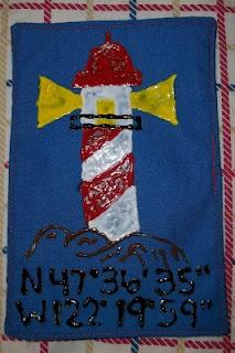 puffy painted nautical fabric bookmark
