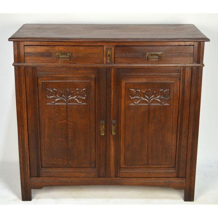 ... Carved Oak English Arts & Crafts Buffet, ca. 1900 #MissionArtsCrafts