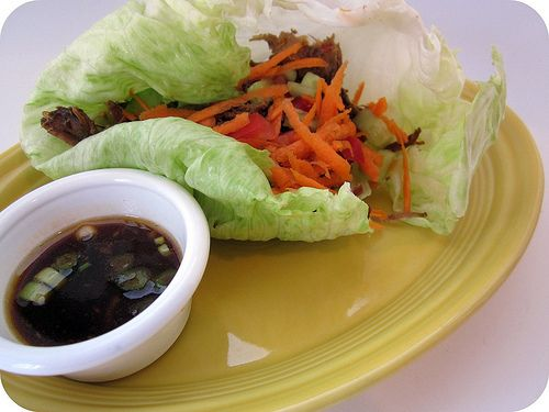 sweet and spicy pork lettuce wraps | Delish | Pinterest