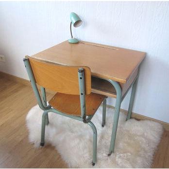 bureau d 39 cole et sa chaise ann es 50 60 desmerveilles vintage pi. Black Bedroom Furniture Sets. Home Design Ideas