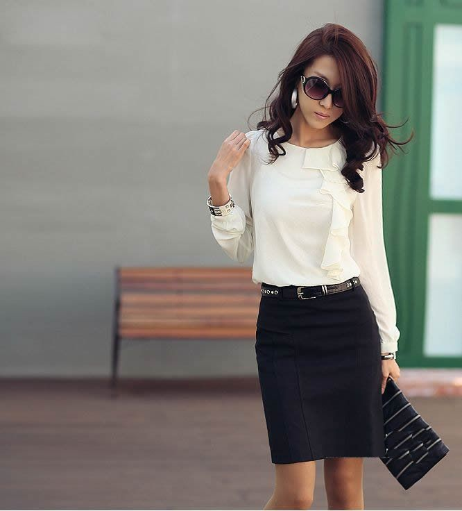 Office lady - chiffon long sleeve ivory blouse + black pencil skirt - office outfit