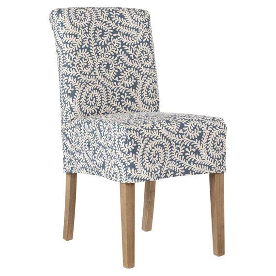 Samsara linen slip cover for echo low back dining chair
