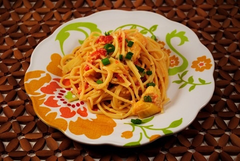 Spaghetti with Artichoke Hearts and Tomatoes