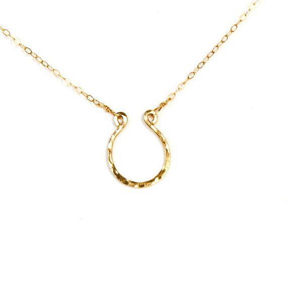 luck necklace handmade 14k gold filled horseshoe