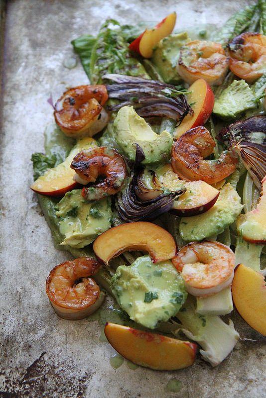 Grilled Romaine, Prawn, Avocado and Nectarine Salad with Jalapeno Hon ...
