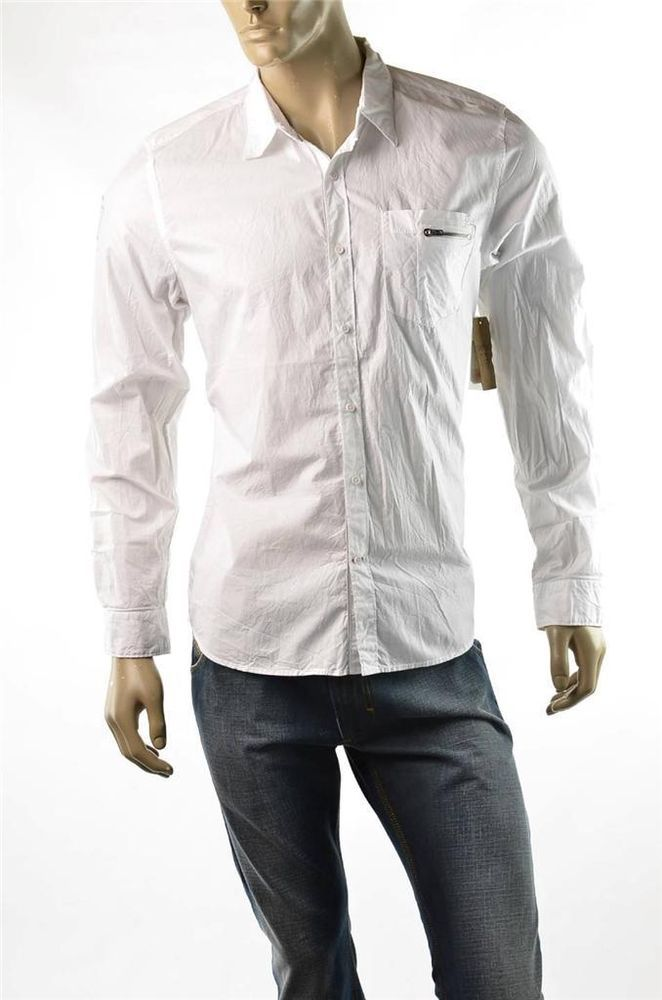 Guess White Button Down Shirt Mens L S Lagoon Art Sport