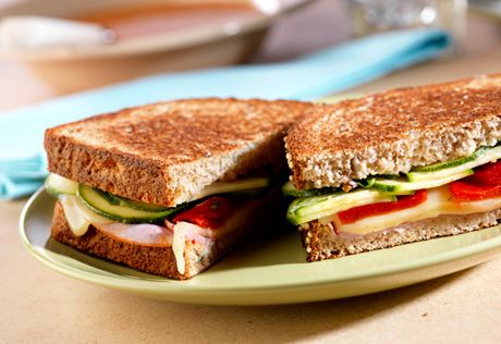 Toasted Antipasto Sandwiches: Ham & mozzarella cheese are dressed up ...