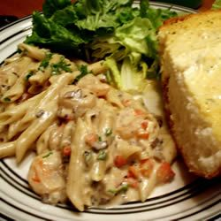 Peppered Shrimp Alfredo with penne pasta, garlic, onion, red bell ...