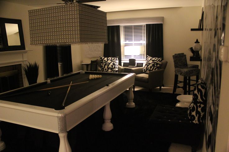 My black white game room sitting room lower level lounge pinte - White sitting rooms ...