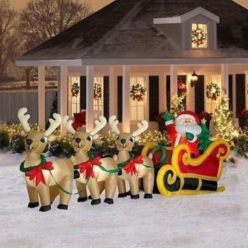 Airblown Christmas Inflatable SANTA SLEIGH REINDEER Outdoor 16 Ft ...