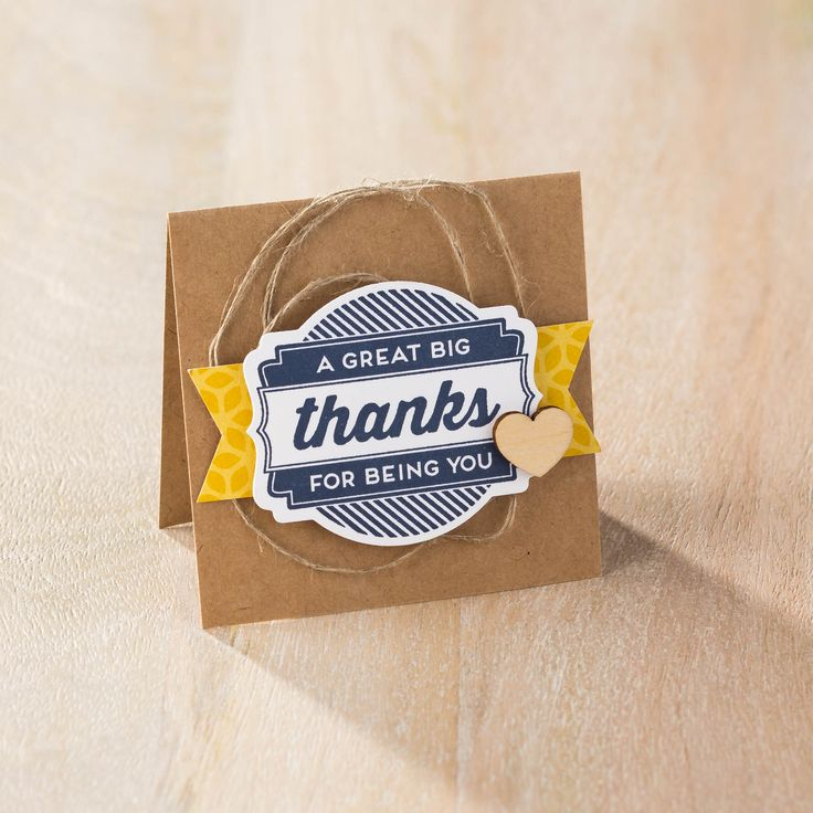 Make quick and easy mini thank you notes with the Oh My Goodie stamp set and coordinating Deco Frame Framelits from Stampin' Up! Check out the Big Shot Promotion.
