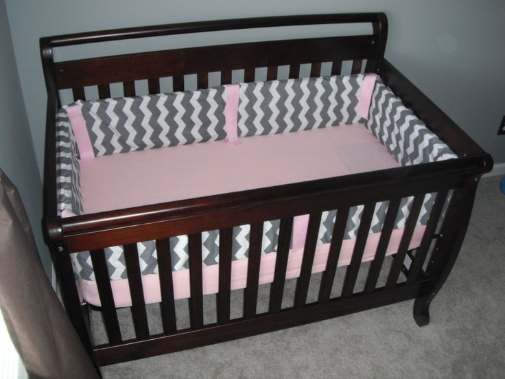 Baby Pink Chevron Crib Bedding