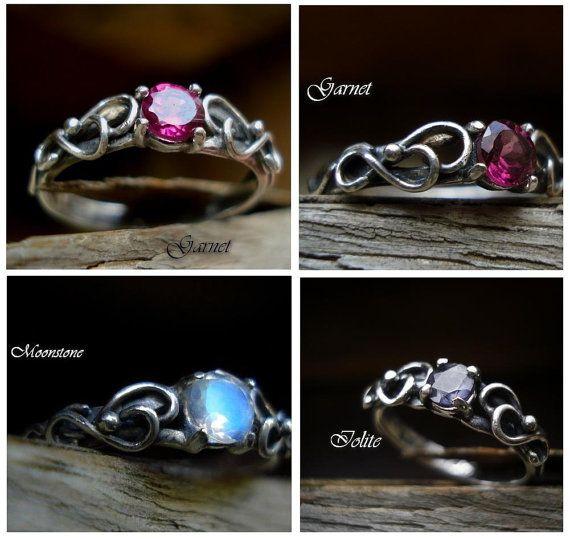 Elvish Wedding Engagement Amethyst Sterling Silver Ring