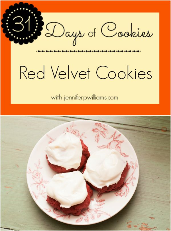 31 Days of Cookies – Red Velvet Cookies with Cream Cheese Frosting