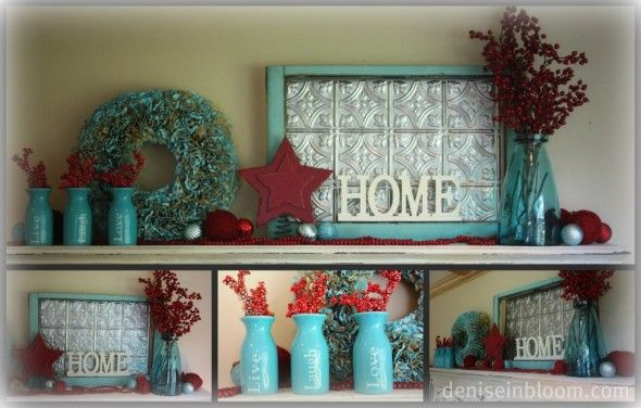 Red and Turquoise for Christmas!  Home Decor DIY  Pinterest