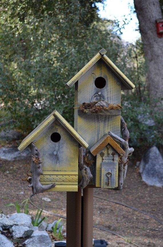 Rustic Birdhouse Condo Country Style Post Mount Garden