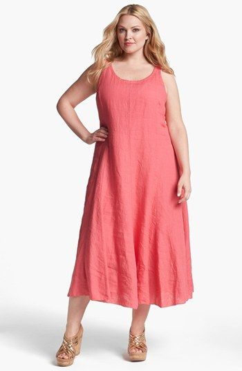 ... Sleeveless A-Line Midi Dress (Plus Size) available at #Nordstrom