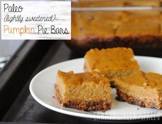 Lightly Sweetened Paleo Pumpkin Pie Bars | Paleo/Primal | Pinterest