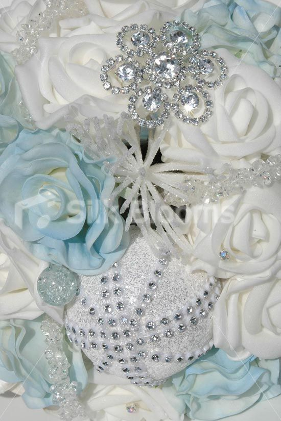 Icy Blue and White Rose Icicle Festive Christmas Wedding Bouquet ...