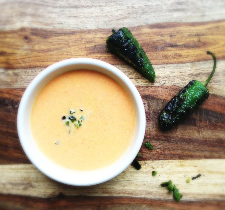 Cream of carrot soup with roast jalapenos. Creamy, a little sweet, a ...