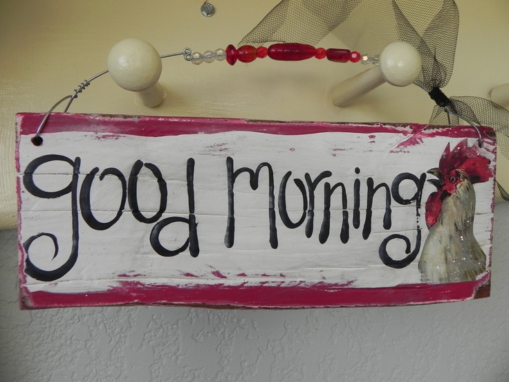 Good Morning Vintage Photos : Good morning vintage rooster red wood sign kitchen retro