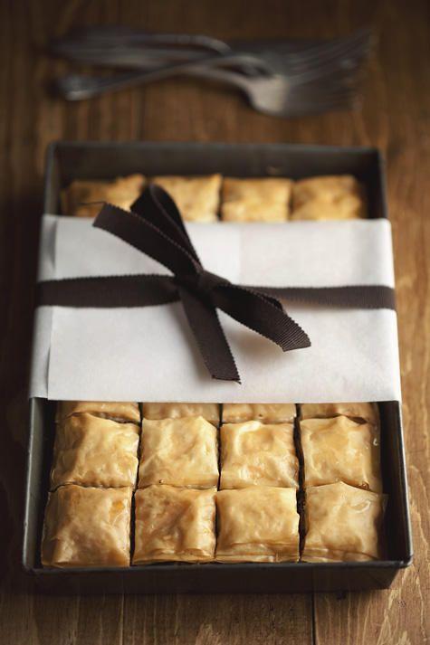 Chocolate Hazelnut Baklava with Cardamom Honey Syrup #chocolate #phyllo