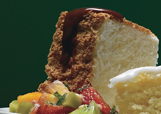 Orange Angel Food Cake with Caramel Sauce & Tropical-Fruit Compote