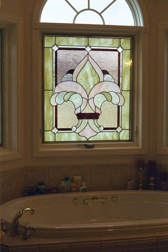bathroom window stained glass master bath now
