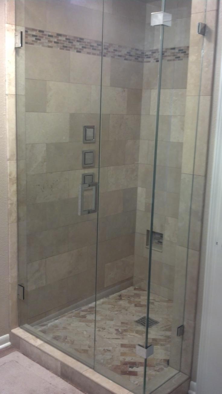 seamless glass shower master bathroom pinterest