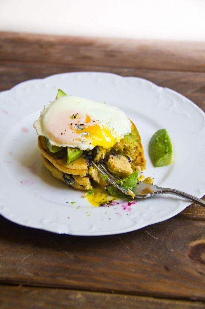 Savory Blueberry Pecan Cornmeal Pancakes | Gluten Free Food | Pintere ...