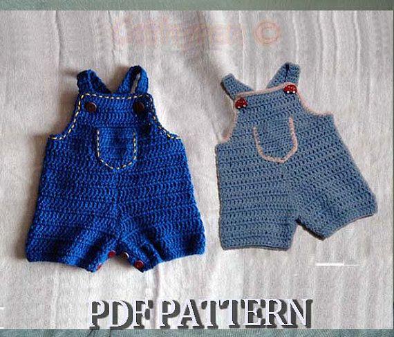 Instant Download Crochet Pattern 64 Baby Jeans Romper by ...
