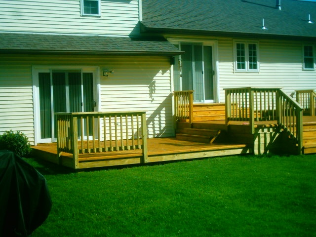 Ground level deck plans free standing multi level deck for Multi level deck plans