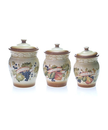 certified italia canister set tuscan view wine grapes kitchen canister set