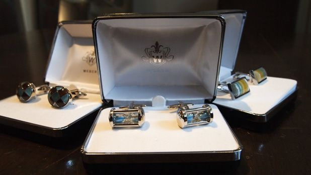 Ted Baker cufflinks and tie bar $85-$98 each from Gotstyle Menswear.