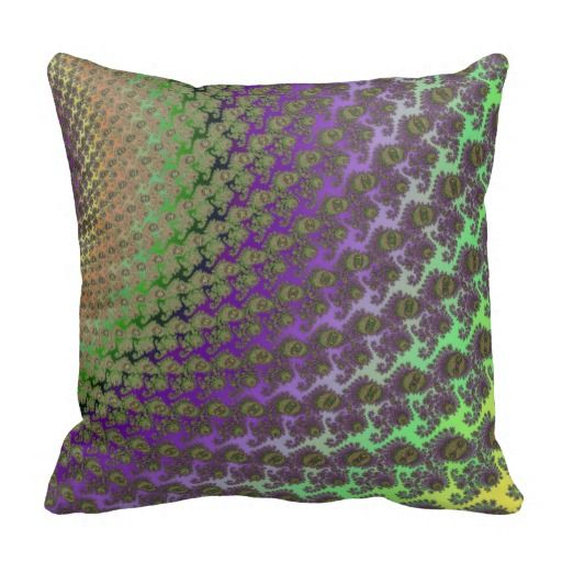 Purple Green Throw Pillow : Green and Purple Abstract Fractal Throw Pillow