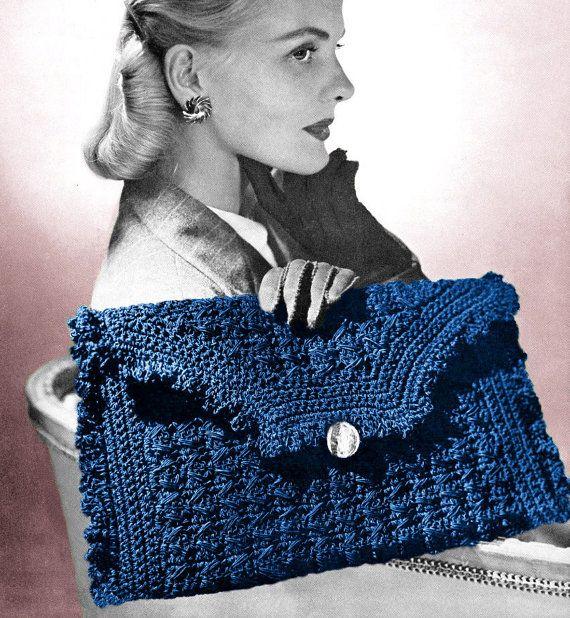 Vintage Crochet Clutch Pattern : Vintage 1940s Crochet Pattern Ruffled Envelope Clutch Purse Handbag D ...