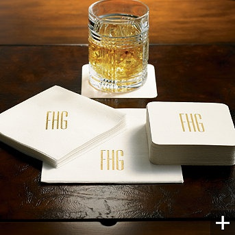 Monogrammed Coasters and Beverage Napkins